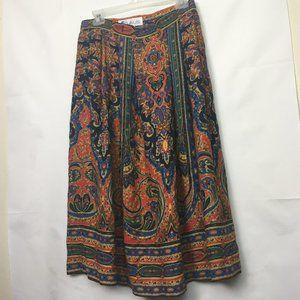Vintage High Waisted Midi Skirt with Pockets